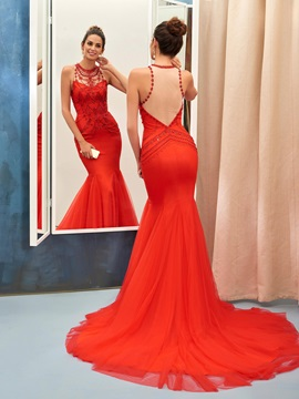Gorgeous Trumpet Jewel Beading Crystal Court Train Evening Dress