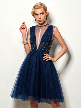Jewel A-Line Beading Hollow Cocktail Dress & Designer Dresses under 300