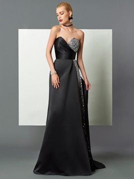 Elegant A-Line Sweetheart Beading Sequins Court Train Evening Dress & unique Designer Dresses