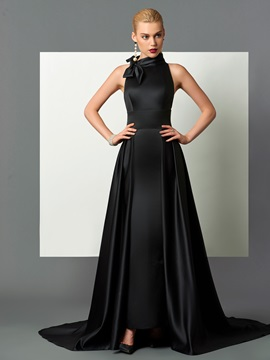 Gorgeous High Neck A-Line Bowknot Court Train Evening Dress & Designer Dresses on sale