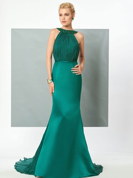 Elegant Halter Mermaid Beading Ruched Backless Court Train Evening Dress & Designer Dresses under 100