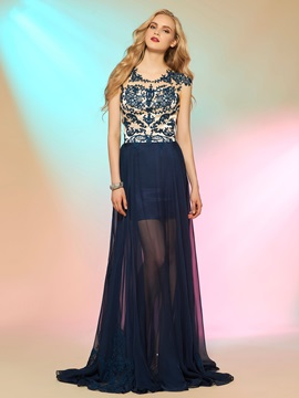 Fancy Scoop A-Line Cap Sleeves Appliques Button Long Prom Dress & Designer Dresses 2012