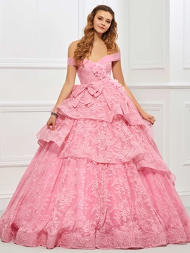 Sweet Off-the-Shoulder Ball Gown Bowknot Flowers Quinceanera Dress & quality Designer Dresses