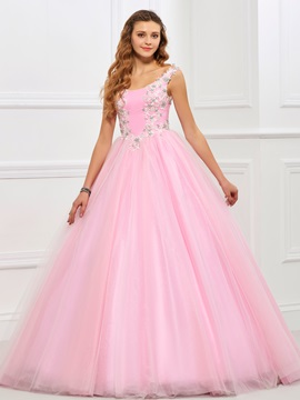 Delicate Scoop Ball Gown Appliques Beading Floor-Length Quinceanera Dress & Designer Dresses from china
