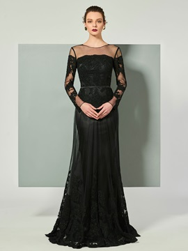 Elegant Beaded A-Line Appliques Court Train Evening Dress