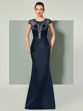 Elegant Scoop Mermaid Appliques Pleats Sashes Cap Sleeves Evening Dress & quality Designer Dresses