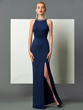 Fancy Halter Sheath Beading Split-Front Backless Floor-Length Evening Dress & unique Designer Dresses