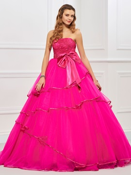 Charming Strapless Ball Gown Bowknot Ruffles Floor-Length Quinceanera Dress & romantic Designer Dresses