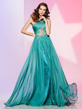 Elegant A-Line One-Shoulder Appliques Lace Ruched Floor-Length Prom Dress & Designer Dresses online
