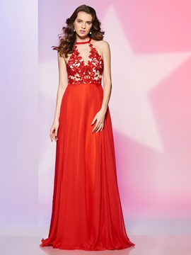 Exquisite A-Line Halter Appliques Beading Floor-Length Prom Dress & colored Designer Dresses