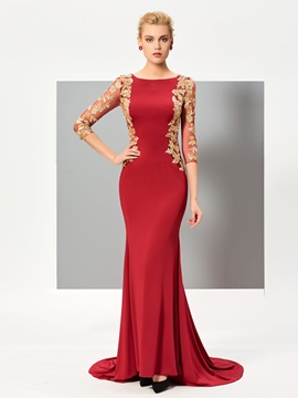 Stylish Bateau Mermaid 3/4 Length Sleeves Appliques Court Train Evening Dress