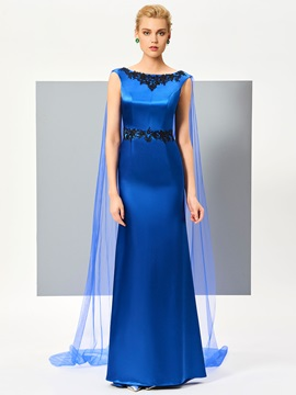 Fancy A-Line Bateau Appliques Watteau Train Evening Dress & quality Designer Dresses