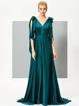 Elegant A-Line V-Neck Bowknot Button Sweep Train Evening Dress