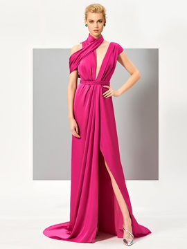 Unique A-Line High Neck Sashes Split-Front Sweep Train Evening Dress & amazing Designer Dresses