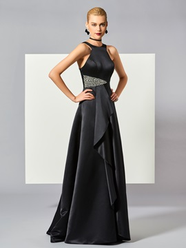 Pretty A-Line Straps Beading Ruched Floor-Length Evening Dress & Designer Dresses under 500