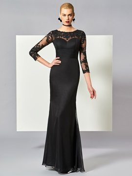 Elegant Scoop Sheath Appliques Floor-Length Evening Dress