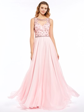 Nice Jewel A-Line Beading Button Floor-Length Prom Dress