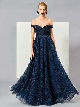Stylish A-Line Off-the-Shoulder Short Sleeves Beading Lace Long Evening Dress