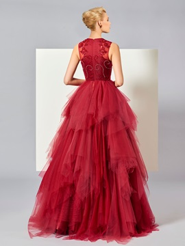 Fancy Beading Tiered Ball Gown Evening Dress