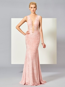 Charming Sheath Scoop Lace Sweep Train Evening Dress