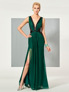 Fancy A-Line V-Neck Lace Ruched Split-Front Floor-Length Evening Dress