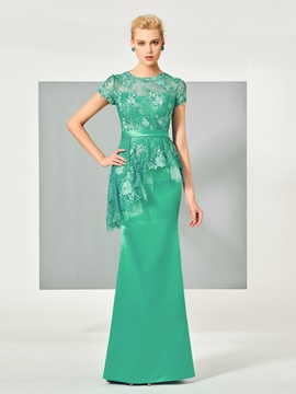 Attractive Sheath Jewel Neck Appliques Lace Button Short Sleeves Evening Dress & simple Designer Dresses