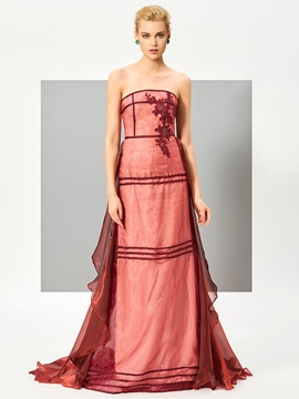 Attractive A-Line Appliques Zipper-Up Watteau Train Evening Dress & Designer Dresses online
