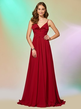 Simple Spaghetti Straps Ruffles Sleeveless A-Line FLoor-Length Prom Dress