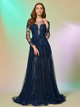 Elegant Bateau Appliques Button Floor-Length Prom Dress & romantic Designer Dresses