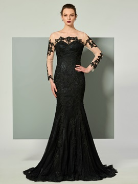 Stylish Bateau Button Lace Mermaid Long Sleeves Court Train Evening Dress