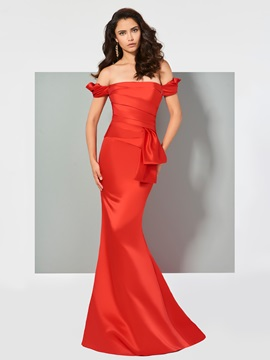Graceful Mermaid Ruched Short Sleeves Off-the-Shoulder Sweep Train Evening Dress & Designer Dresses for less