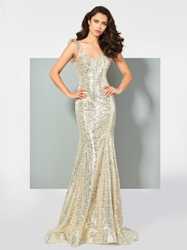 Gorgeous Straps Mermaid Lace Sequins Sweep Train Prom Dress & Designer Dresses online