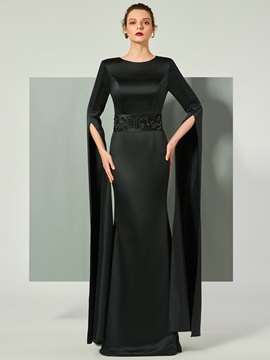 Elegant Sheath Scoop Long Sleeves Beaded Zipper-Up Evening Dress & elegant Designer Dresses