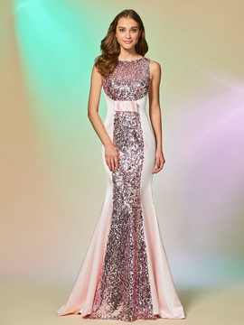 Gorgeous Scoop Trumpet Sleeveless Bowknot Sequins Sweep Train Evening Dress & fairy Designer Dresses