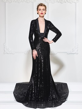 Gorgeous Mermaid Square Neck Long Sleeves Sequins Court Train Evening Dress