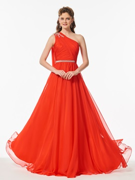 Simple One-Shoulder Beading Pleats Sashes Floor-Length Prom Dress & Designer Dresses for less