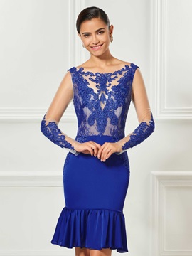 Trumpet Backless Appliques Lace Bateau Knee-Length Cocktail Dress & Designer Dresses from china