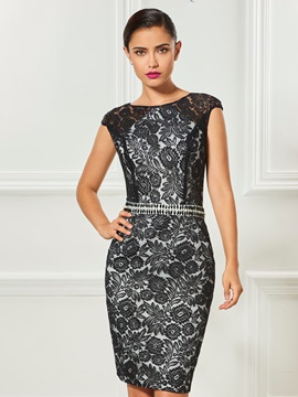 Attractive Cap Sleeves Sheath Bateau Lace Sashes Knee-Length Cocktail Dress & Designer Dresses under 100