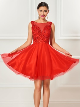 Lovely A-Line Bateau Appliques Beading Draped Knee-Length Cocktail Dress & inexpensive Designer Dresses