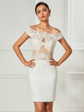 Elegant Off-the-Shoulder Beaded Lace Button Sheath Knee-Length Cocktail Dress & amazing Designer Dresses
