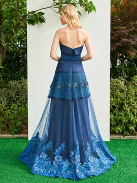 Strapless Beading Appliques Brush Train Evening Dress