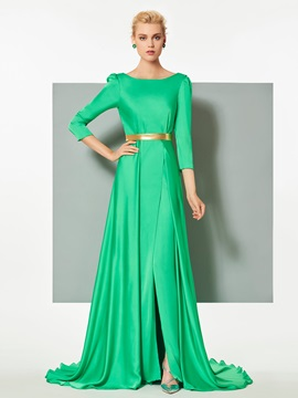 Modern A-Line Bateau Sashes 3/4 Length Sleeves Court Train Evening Dress