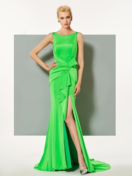 Elegant Mermaid Bateau Ruffles Split-Front Court Train Evening Dress & Designer Dresses from china