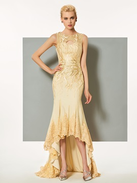Fancy Scoop A-Line Button Hollow Lace Sweep Train Evening Dress & Designer Dresses under 100