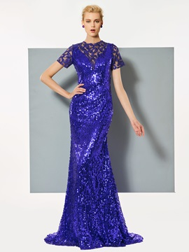 Gorgeous Jewel Short Sleeves Mermaid Lace Sequins Sweep Train Evening Dress & quality Designer Dresses