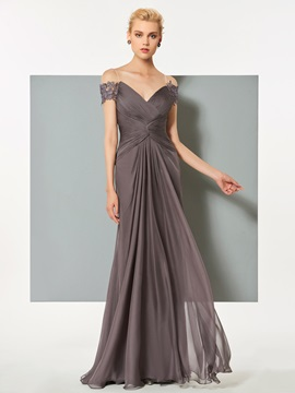 A-Line Off-the-Shoulder Lace Ruched Evening Dress & modest Designer Dresses