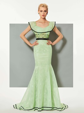 Graceful Mermaid Scoop Lace Ruffles Sashes Court Train Evening Dress & affordable Designer Dresses