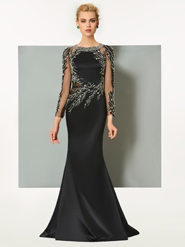 Gorgeous Long Sleeves Sheath Beaded Scoop Sweep Train Evening Dress & Designer Dresses for less