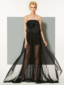Elegant Strapless Lace A-Line Ruffles Court Train Evening Dress & petite Designer Dresses