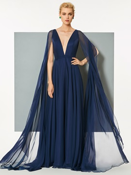 Superb A-Line Deep V-Neck Backless Sweep Train Evening Dress & unusual Designer Dresses